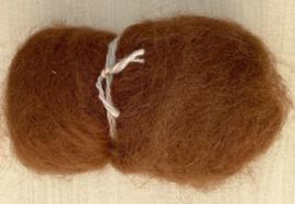 Alpacawol gekaard - donker camel - 30 gram