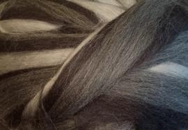 Meter lontwol: zwart-grijs gemeleerd