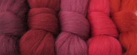 5 tinten rood  - 5x30cm / 5x1m
