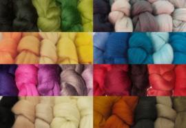 Merino lontwol - kleur, 5 tinten-sets. Voor naaldvilten en natvilten.