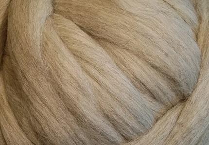 Meter lontwol: Poolvos - beige/grijs