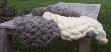 XXL lontwol - natuurlijke lontwol voor het breien van dekens, kussens, enz.