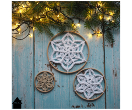 Winter Flower Snowflake houten ringen (3 stuks)