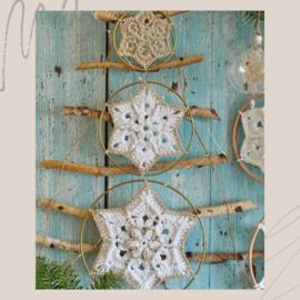 Flower Star Snowflake zilverkleurige ringen (3 stuks)