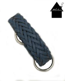 Gevlochten tashengsel blauw 85 cm