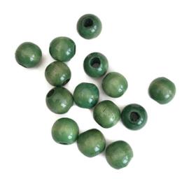 Houten kraal gelakt groen 14 mm