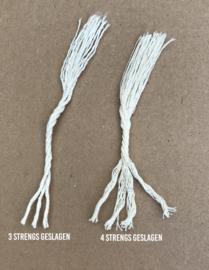 Macramé koord 3 mm  1,1 kilo Naturel 4 strengs