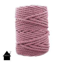 Macramé koord 7mm 100 meter Oud roze