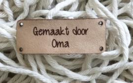 Leren label 4,5 bij 1,8 cm gemaakt door oma