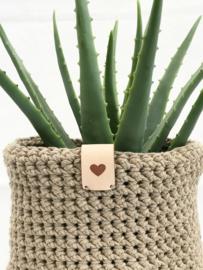 Leren label 9 bij 3 cm  Cactus