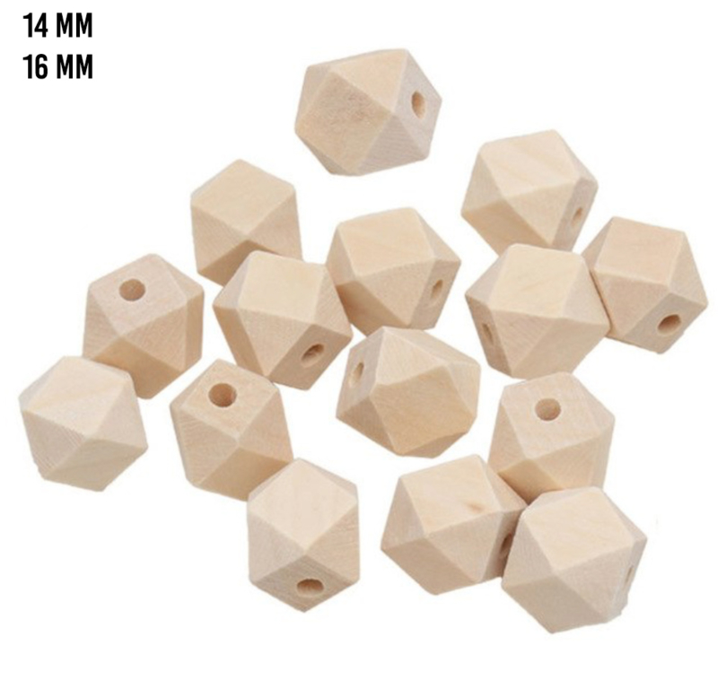 Houten kraal geometrisch naturel - ca. 14 mm