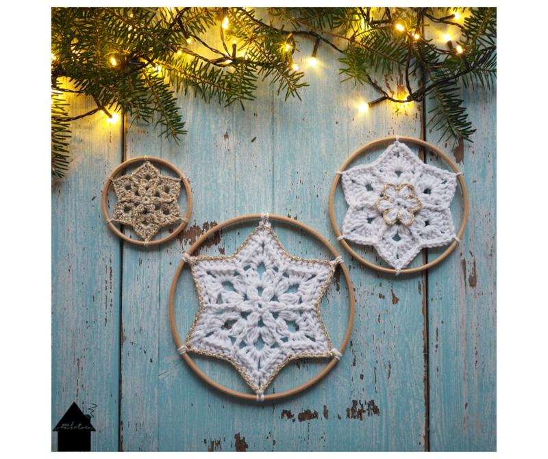 Flower Star Snowflake houten ringen (3 stuks)