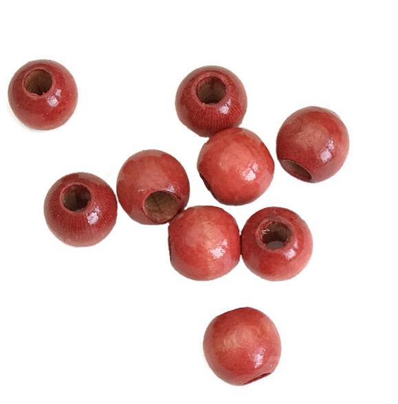 Houten kraal gelakt rood 14 mm