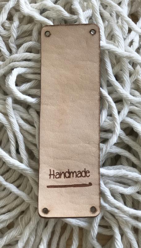 Leren label 9 bij 3 cm  Handmade