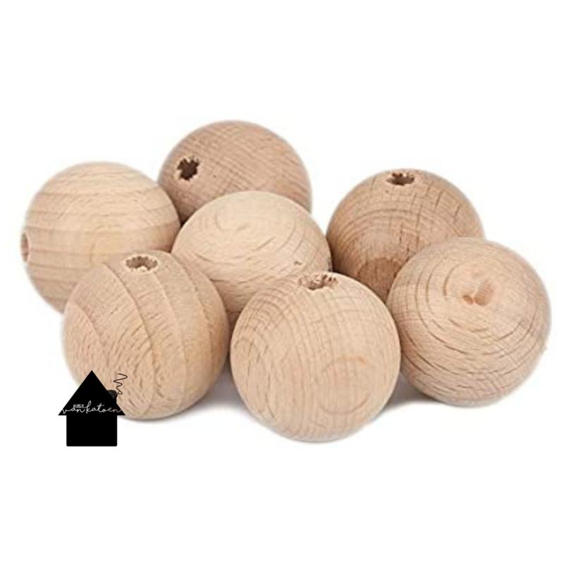Beuken houten kralen 8 mm  (per 10 stuks)
