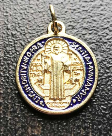 Medaille St. Benedictus  | Verguld metaal en emaille 20 mm