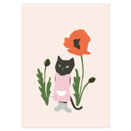 postcard | Cat and poppy (pink)