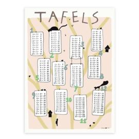 print | Tafels 1 t/m 12 Bos - roze (4 stuks)