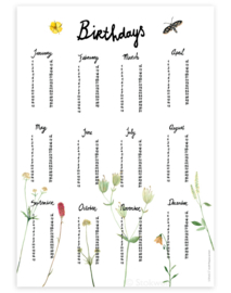 verjaardagsposter | Berg bloemen (4 stuks)