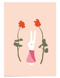 postkaart | Konijnenmeisje