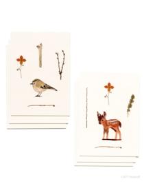 mini kaartjes & envelop | Goudhaantje & hertje (set)