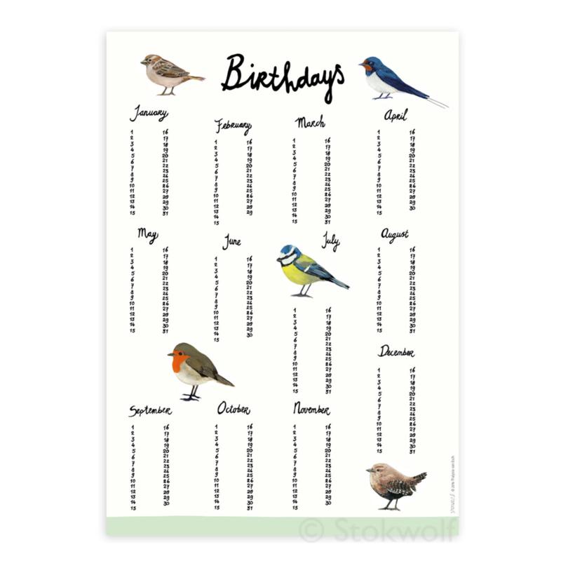 verjaardagsposter | Vogels