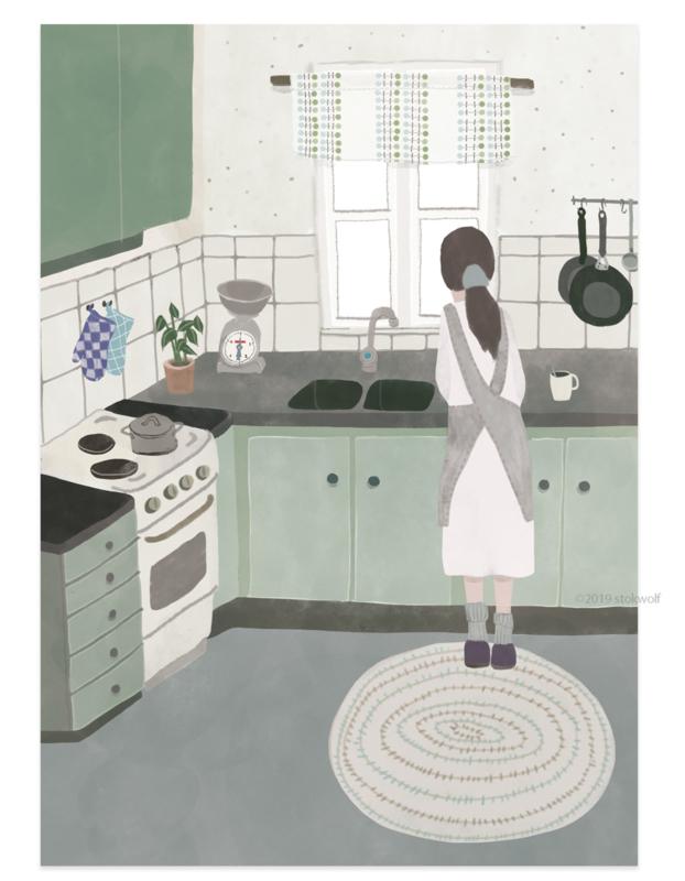 postkaart | Keuken in Zweden