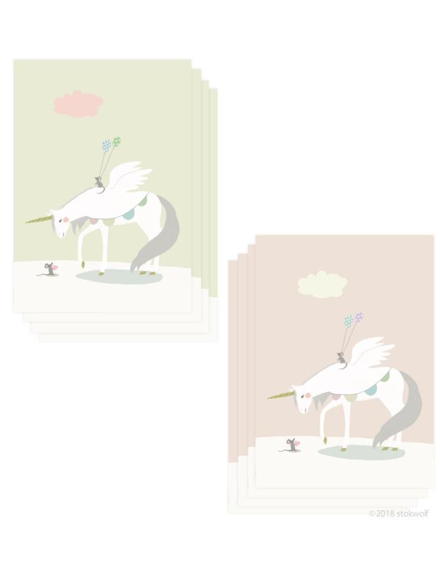 mini kaartjes    Eenhoorn en muis (set)
