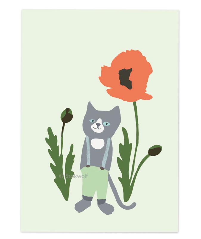 postkaart   Kat en klaproos - grijs