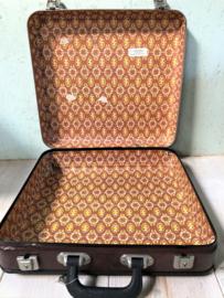Vintage bruin stewardessen koffertje, met sleuteltjes