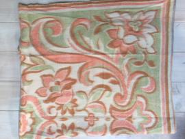 Vintage deken rose/groen bloempatroon