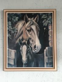 Vintage prent met paarden