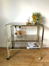 Vintage messing bar cart, serveerwagen