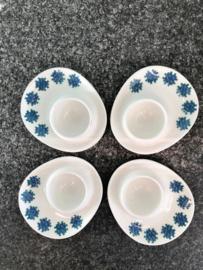 Vintage eierdopjes Figgjo Flint Menu, set van 4