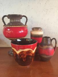 Vintage vazen en bloempot, rood/bruin