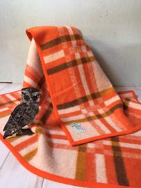 Vintage wollen deken oranje ruit, Real