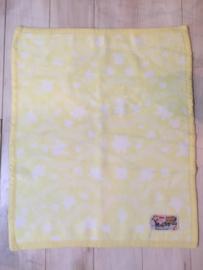 Vintage AaBee wiegdeken, geel/wit