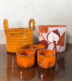 Vintage bloempotten, oranje o.a. W-Germany