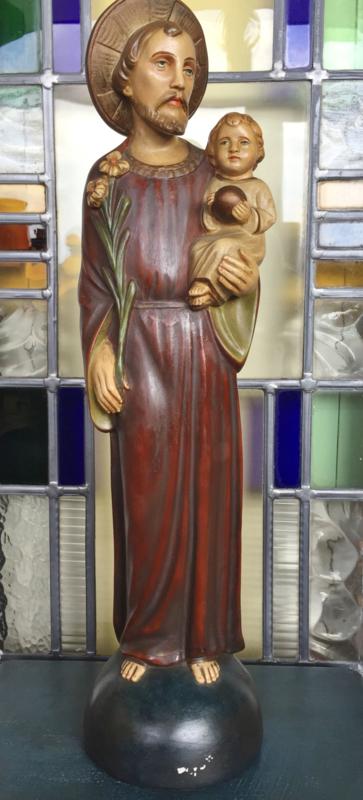 Polychroom gipsen beeld Jozef