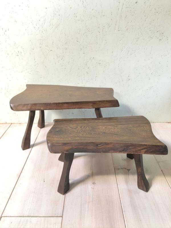 Vintage houten bijzettafeltjes, set van 2