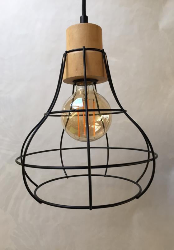 Hanglamp hout en metaal