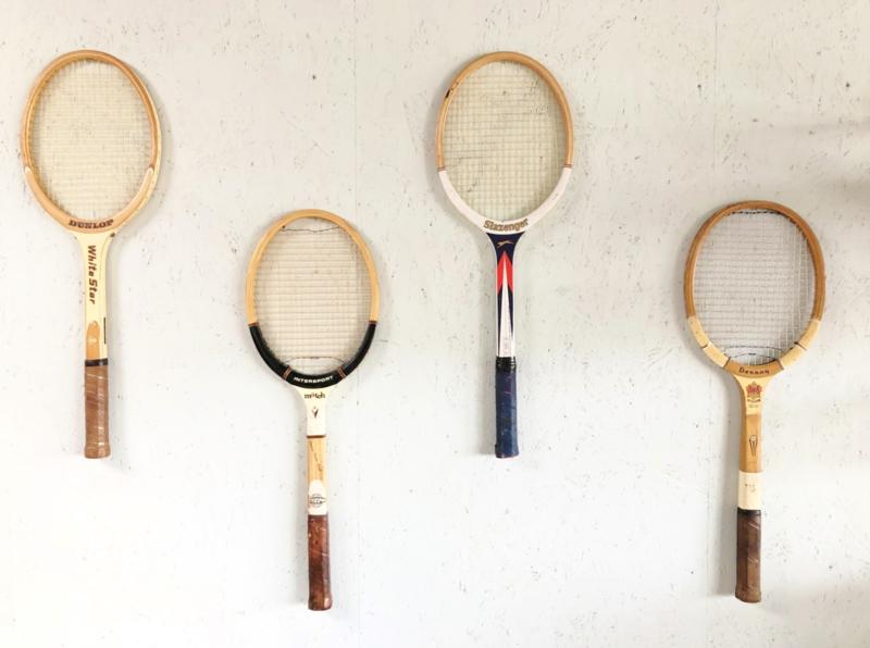 Oude tennisrackets