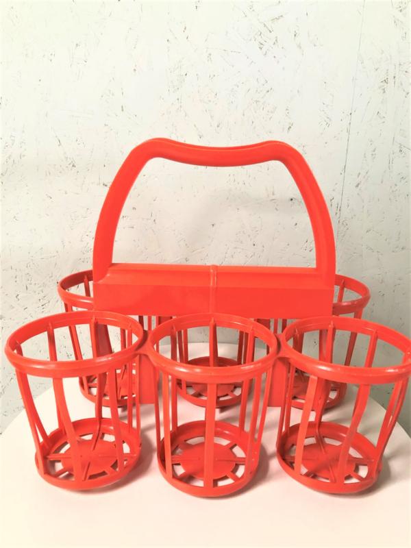 Vintage oranje flessenmandje