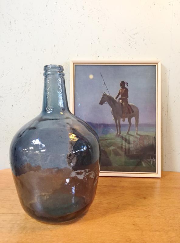 Vintage blauwe fles