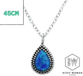 Ketting 925 zilver Blue lagoon