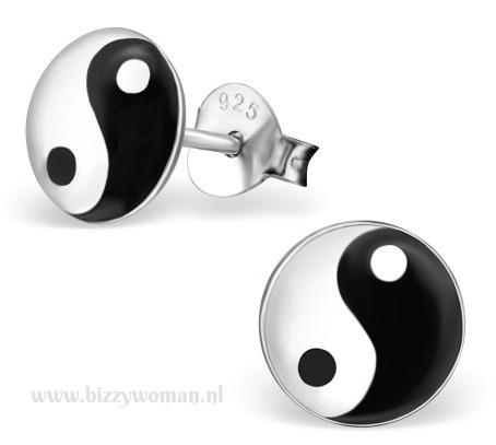 Oorknopjes 925 zilver Yin-yang
