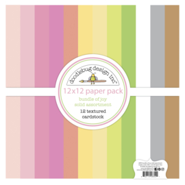 Doodlebug Design Bundle of Joy 12x12 Inch Textured Cardstock Paper Pack