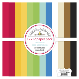 Doodlebug Design Bar-b-cute 12x12 Inch Textured Cardstock Paper Pack