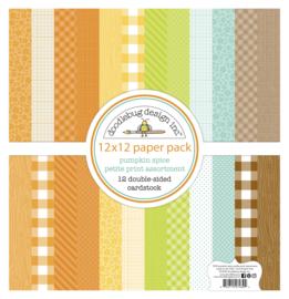 Doodlebug Design Pumpkin Spice Petite Print 12x12 Inch Assortment Pack