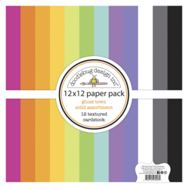 Doodlebug Design Ghost Town 12x12 Inch Textured Cardstock Assortment Pack